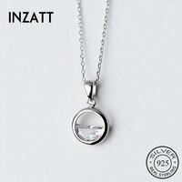 INZATT, настоящее 925 пробы, Серебряный Кристалл, Круглый минималистичный кулон, колье, минималистичное, хорошее ювелирное изделие для женщин, в...