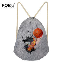 FORUDESIGNS 3D Printing Basket-ball Drawstring Bag for Men Travelling Backpacks String Sack Sport Gym for Shoes Storage Package(China)