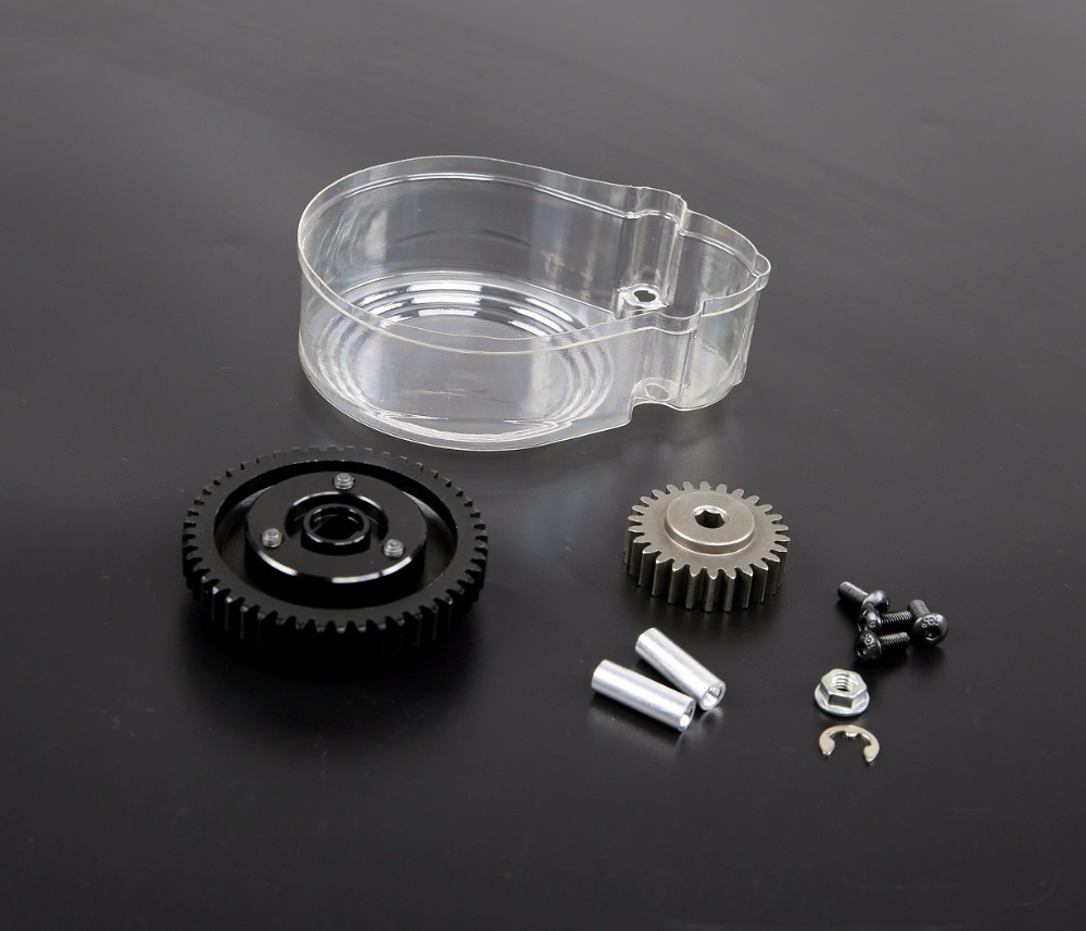 Metal 48T&26T Super high speed gear Kit and plastic cover for 1/5 hpi rovan km baja 5b ss rc car gas parts 48t 26t metal super high speed gears set with clutch bell set for 1 5 hpi rovan baja 5b 5t 5sc
