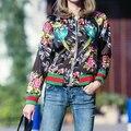 Moda Outono Luva Cheia Floral Applique Mulheres Jaquetas Com Zíper Casaco Outwear Animais Bombardeiro Casuais Jacekts Feminina MA8255-0818