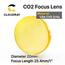 "Cloudray EE.UU. CVD ZnSe Lente de Enfoque de Dia. 20mm FL 25.4mm 1 ""para CO2 Grabado Por Láser Máquina de Corte Envío Gratis"