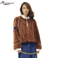 M.Y.FANSTY 2017 Autumn Winter Mink Fur Coat Brown  Conventional length Round neck single row 2 buckle thickened whole skin mink