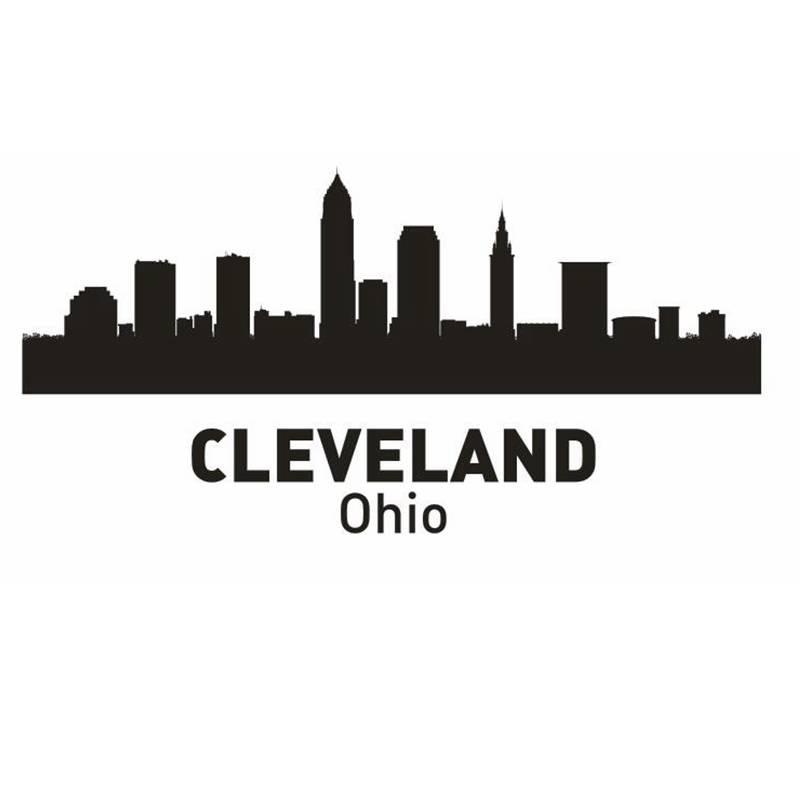CLEVELAND City Decal Landmark Skyline Wall Stickers Sketch