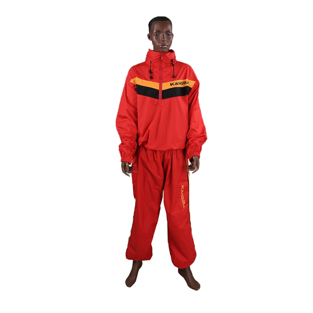 Waterproof unbreathable Red Sweat coat sauna suit male female running fitness uniform lose weight reduce body weight clothing 3