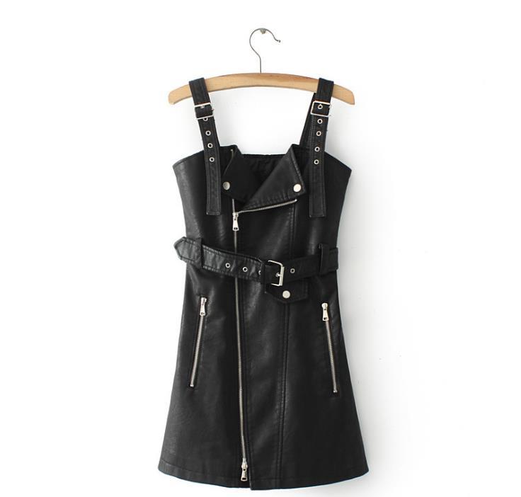Mini rose Zip Cuir Mode Beige En Sexy Ceinture cou V Synthétique Zipper De Femmes noir Robe Cq8T11