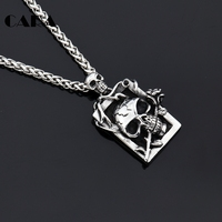 CARA NEW 316L Stainless Steel Mens Gothetic Necklace Gothetic Human Head Skull Withered Rose Pendant Charm