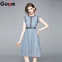 Guijie Runway Blue Pink Lace Floral Dress Summer Women Elegant Sleeveless O Neck Slim Prom Office Party Knee Length Dresses