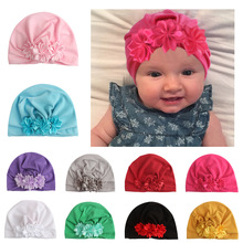 Yundfly Infant Newborn Caps with Ribbon Flower Cotton Blend Kont Turban Girls Children Stretchy Beanie Hat Baby Hair Accessories
