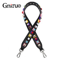 High Quality Female Handles Strap Colorful Rivet Genuine 90cm Leather Shoulder Strap Accessories for Handbags Bag