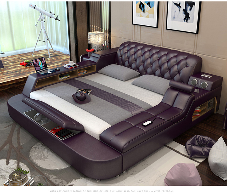 Bed-Frame Speaker Massager-Storage Quarto Soft-Beds Bedroom Genuine-Leather Cama Safe