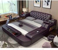 Genuine leather bed frame Soft Beds massager storage safe speaker LED light Bedroom cama muebles de dormitorio / camas quarto