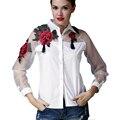 2017 Весна Осень Вышивка Блузка Из Органзы Лоскутное Цветок С Длинным Рукавом Белый Дамы Блузки Blusas Рубашка Топы Camisa Mujer
