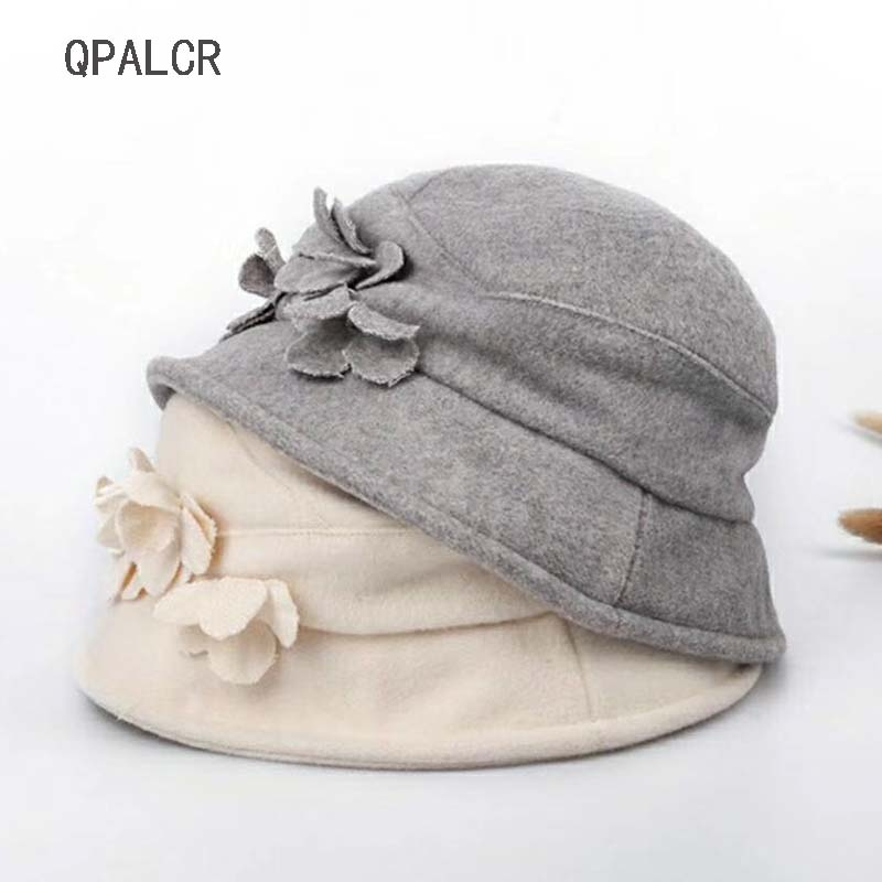 QPALCR High Quality Winter Hats Fedoras For Women Elegant Wool Blend Bucket Hat Female Casual Foldable Top Hat Fisherman's Caps