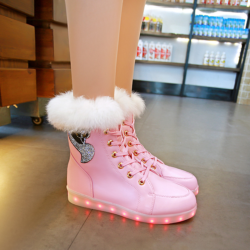 Yeafey Luminous Sneakers Led Krasovki Women Winter Fox Diamonds Warm Fur Pink Girls Shoes Autumn Led Luminous Shoes with Lights