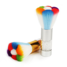 Colorful Nail Dust Brushes Acrylic UV Nail Gel Powder Nail Art Dust Remover Brush Cleaner Rhinestones Makeup Foundation Tool