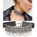 Alta qualidade choker za colar contas redondas exo cadeia de couro pingente de metal declaração colar colar de jóias por atacado nk23