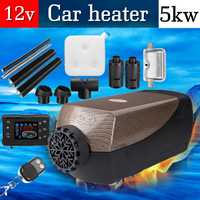 HCalory 5KW 12V Car Fuel Heater Parking Warmer Free Silencer Kit LCD Switch With Remote Control Camping Home Truck Motorhome