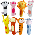 Cute Animal Head Baby Toys Panda/Rabbit/Monkey Baby IQ Development Plush Hammer Toys Doll Toys for Kids