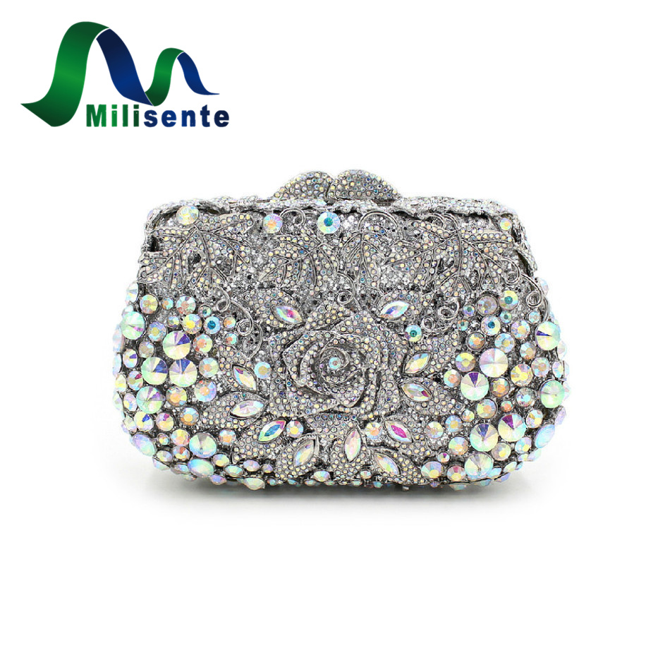ФОТО New Women Deluxe Crystal Flower Evening Bags Lady Handbags Party Banquet Clutches Wedding Purse Shoulder Crossbody Silver