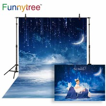 Funnytree backdrop for photographic studio night starry sky moon stars cloud professional background photobooth photocall