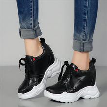 Outdoor Tennis Shoes Women Lace Up Cow Leather Wedges High Heel Party Pumps Punk Platform Sneakers Walking Trainers Casual Shoes dumoo girl super high heel 8cm cow leather casual shoes women sneakers leisure platform shoes wedges casual shoes mixed color