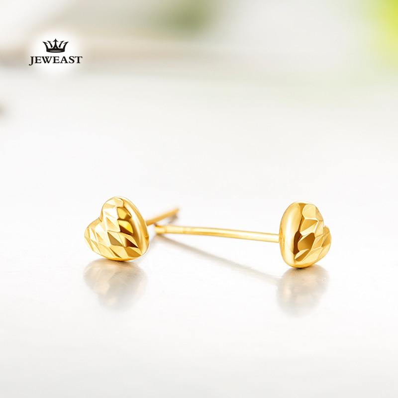 18 k puhdasta kultaa korvakoru valkoinen ruusu keltainen sydän hieno - Hieno korut - Valokuva 3
