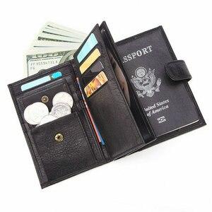 Image 5 - GENODERN funda de pasaporte para hombre, cartera funcional grande con soporte para pasaporte, monedero, organizador de carteras