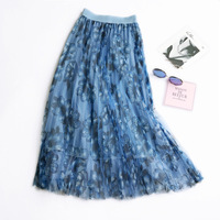 2018 net yarn printing pleated female summer thin high waist floral long skirt a word