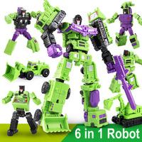 6pcs Construction Truck Car to Robot Model Deformation Transform Toys Boys Education Gift