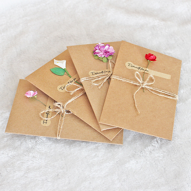 1pcs Sample Craft Paper Flower Wedding Invitations Card Personalized Custom With Ribbon Free Envelope Seals