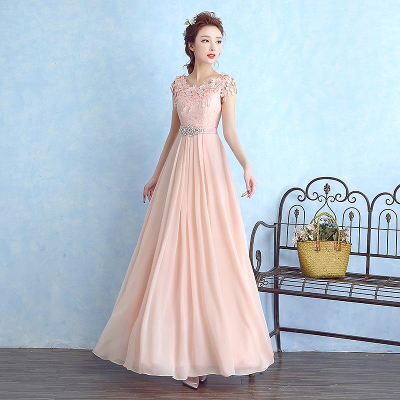 En Stock longue robe de soirée rose en mousseline de soie sans manches Appliques perlées robes de soirée formelles 2019 offre spéciale robes de soirée robe de so