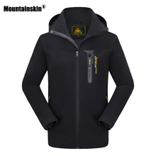 Mountainskin 8XL New Autumn Spring Men's Jacket Waterproof Coat Softshell Hooded Women's Outerwear Mens Brand Clothing SA423