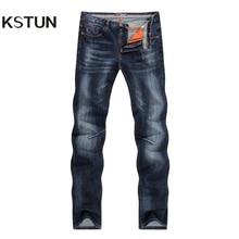 KSTUN Jeans pour hommes, pantalon de marque de qualité Business décontracté, coupe droite, coupe Slim, bleu foncé