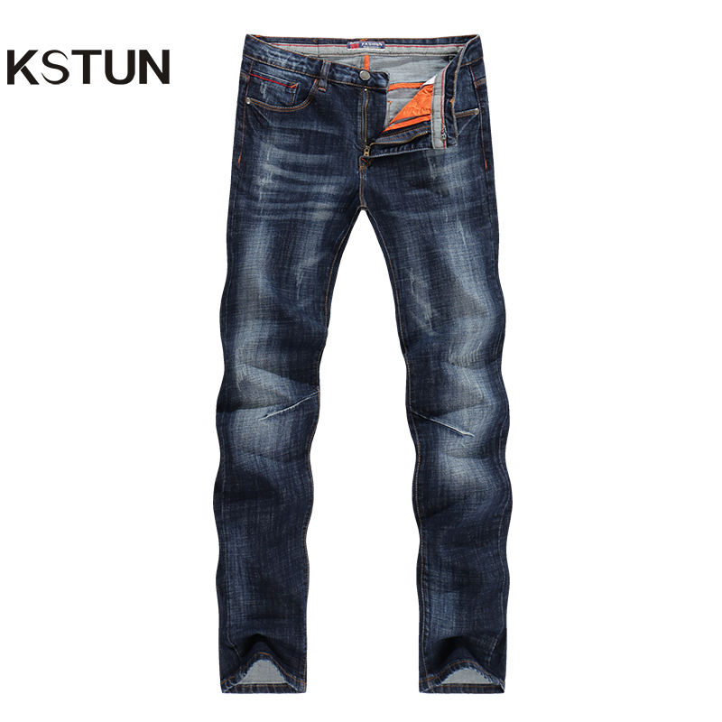 KSTUN New Arrivals <font><b>Jeans</b></font> Men Quality Brand Business Casual Male Denim Pants Straight Slim Fit Dark Blue Men's Trousers Yong Man