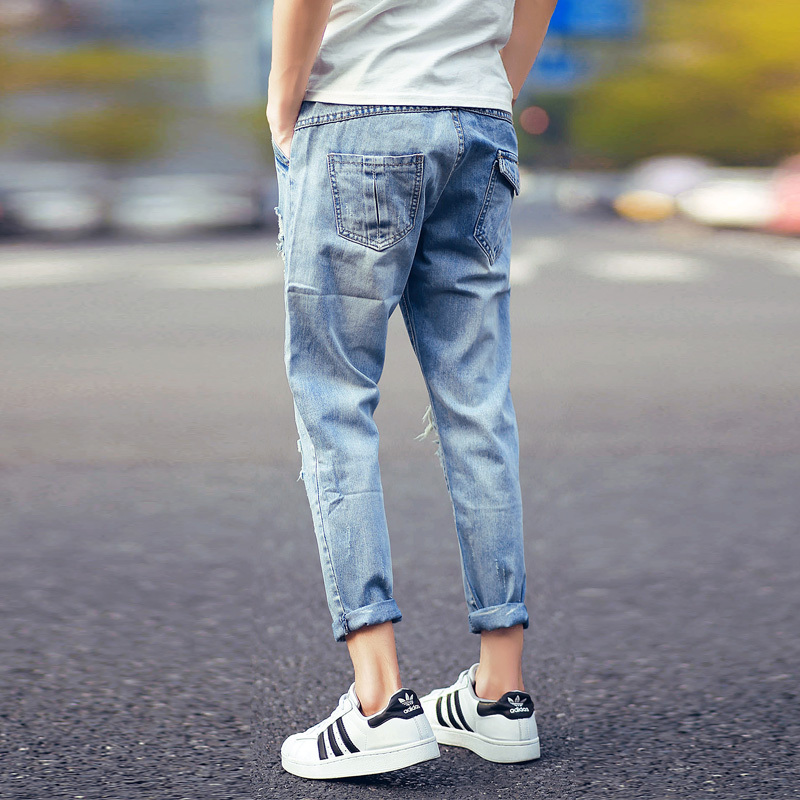 241322944f1d 2015 New Summer Style Fit Men Jeans Hip Hop Ripped Jeans Ankle Length Pants  hiphop Pants Street Fashion Casual Long Jeans -in Jeans from Men's Clothing  on ...
