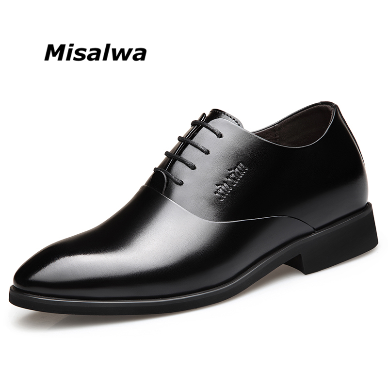 Misalwa Men Elevator Dress Shoes Men Derby Elegant Formal Shoes Office Height Increasing Wedding Suit Shoes