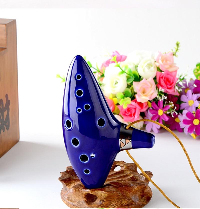 Mavi 12 Delik Ocarina Fırınlı Seramik Alto C Zelda Ocarina - Müzik Enstrümanları