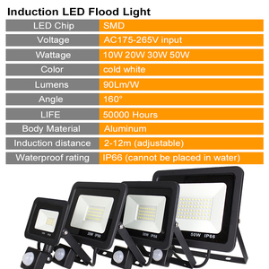 Image 3 - Led 10W 20W 30W 50W Flood Light Outdoor PIR Motion Sensor 220V IP66 Outdoor Spotlight Led Projector Light Reflector With Sensor