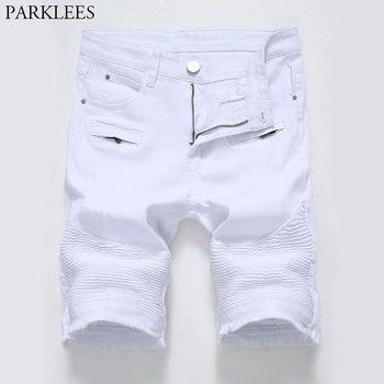 008cef070a1a8 Белые рваные байкерские джинсовые шорты мужские 2018 летние новые модные  джинсы бермуды Masculina хлопковые Стрейчевые джинсовые шорты на молнии.