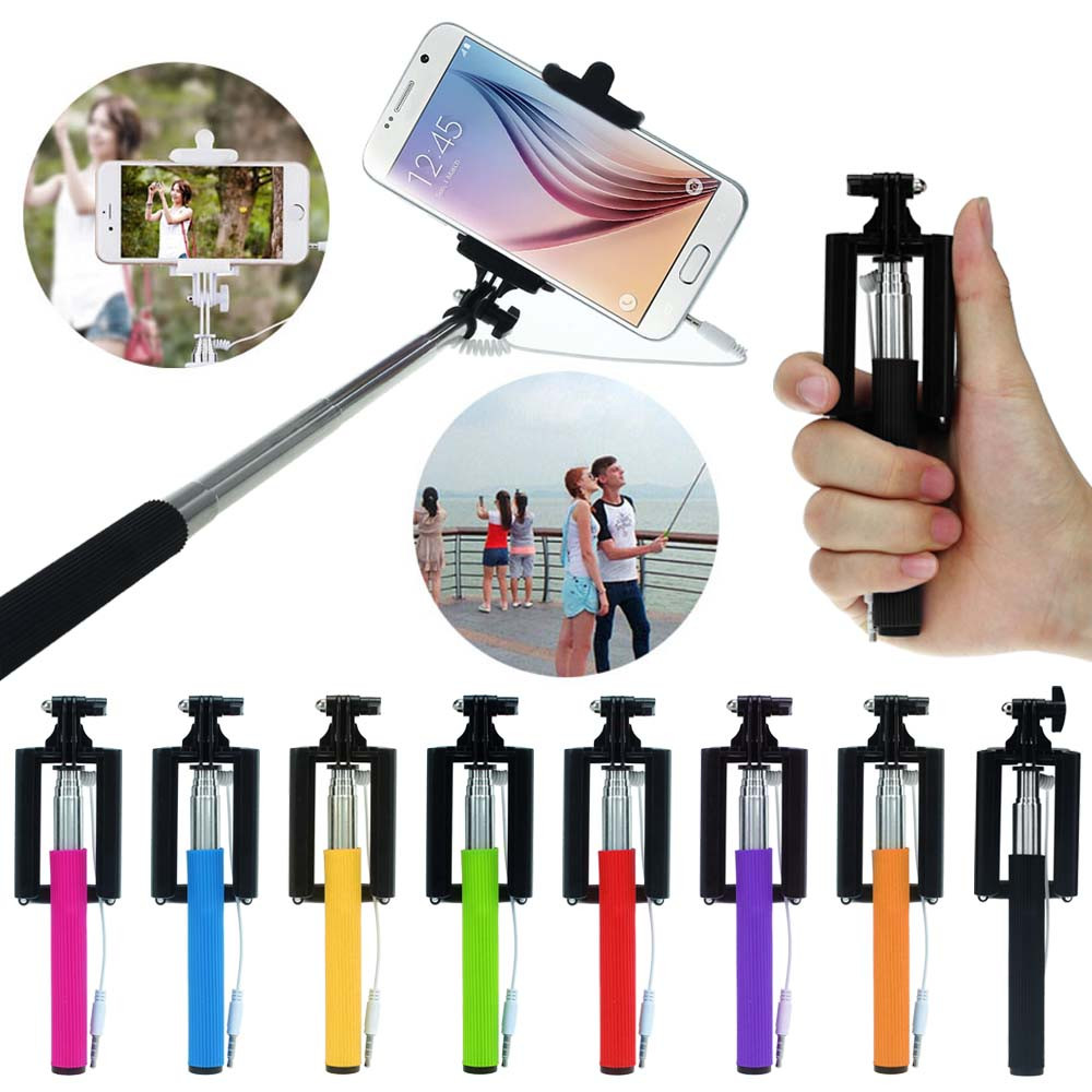 Wired Extendable Selfie Tripod Handheld Stick Monopod