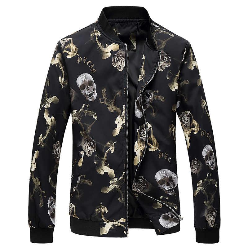 HCXY 2019 осенние куртки Курточка Бомбер с модным принтом свободное, облегающее пилот Курточка бомбер пальто Для мужчин Куртки Плюс Размеры 6XL