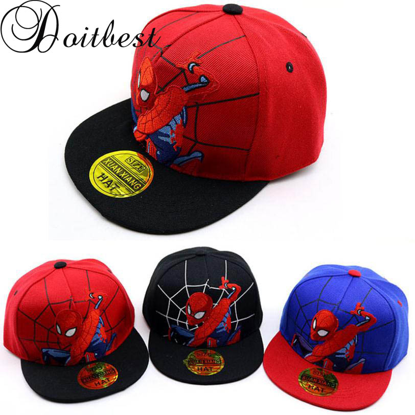 Doitbest 2 To 8 Years Child Baseball Cap Hip Hop Spring Cartoon Spiderman Embroidery Kids Sun Hat Boys Girls Caps Snapback Hats
