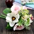 6 pçs/set Artesanal flor de seda segurando buquê de flores artificiais magnolia home decoração da flor do casamento decoração