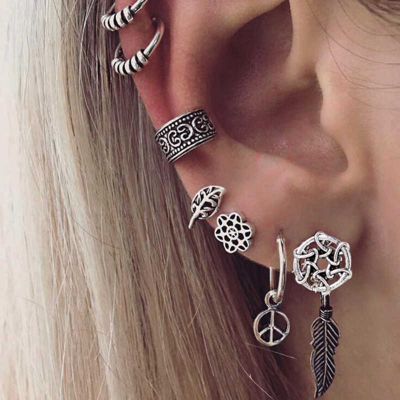 Tocona 7pcs Tribal Stud Earring Set for Women Silver Hollow Leaf Flower Feather Shape Punk Carved Ear Climber Party Jewelry 5987