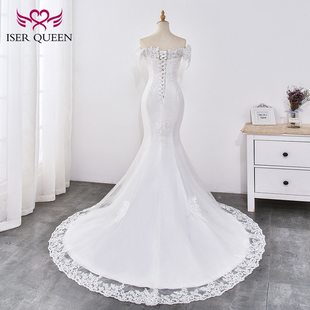 Pearl Appliques Court Train Lace Up Mermaid Wedding Dress 2