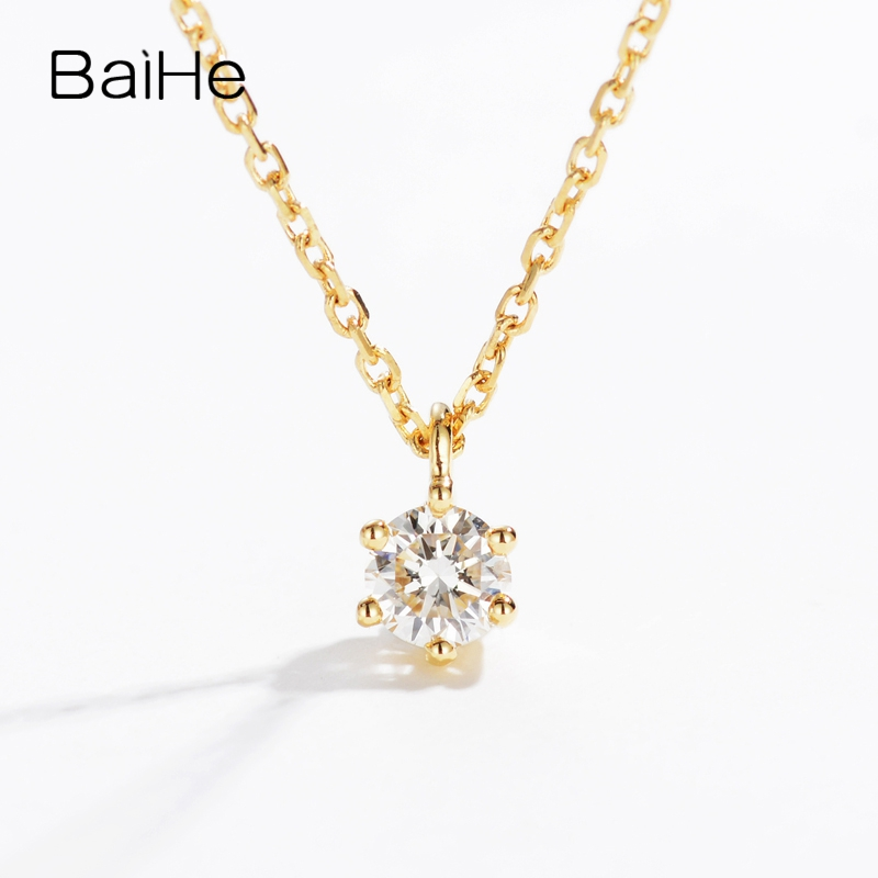 BAIHE Solid 18K Yellow Gold 0.10CT Certified H/SI Genuine Natural Diamond Engagement Women Trendy Fine Jewelry Gift Necklaces baihe solid 18k yellow gold au750 engagement