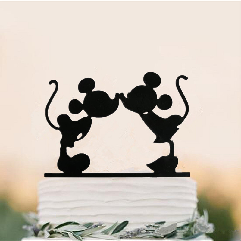 free shipping acrylic mickey and minnie wedding cake topperwedding cake standwedding decoration