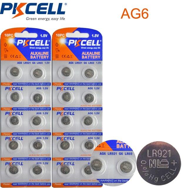 2 kart/20 adet PKCELL AG6 pil SR920SW SR69 SG6 371 605 1.5V alkalin düğme piller para celi izlemek için