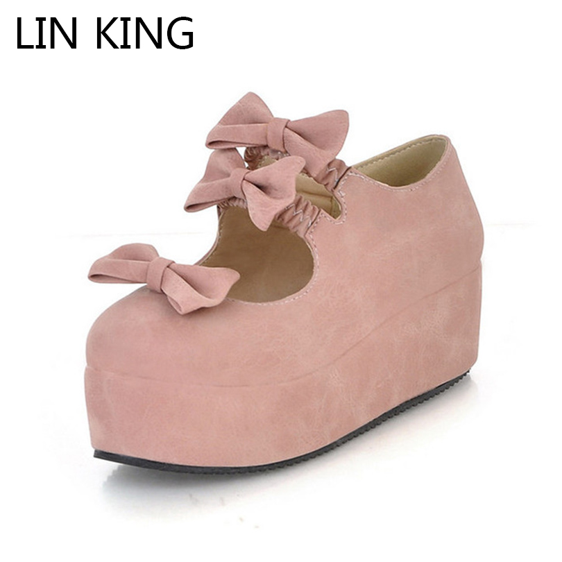 LIN KING Spring Autumn Womens Wedges Pumps High Heel Platform Shoes Leisure Sweet Round Toe Buckle Butterfly Lady Lolita Shoes genuine cow leather spring shoes wedges soft outsole womens casual platform shoes high heel round toe handmade shoes for women