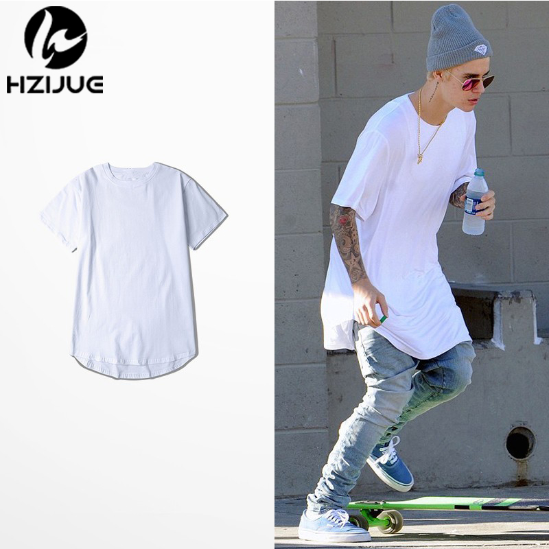 HZIJUE Men Short Sleeve Extended Hip Hop T shirt Oversized Tyga Kpop Swag Clothes Men